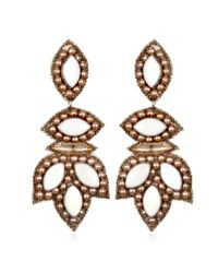 Suzanna Dai   White Luxembourg Drop Earrings, Ivory/blush   Lyst