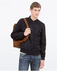 Zara   Blue Mixed Fabric Jacket for Men   Lyst