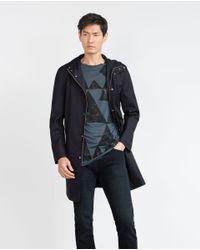 Zara | Blue Geometric Print T-shirt for Men | Lyst