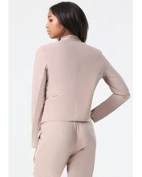 Bebe - Natural Dramatic Lapel Zip Jacket - Lyst