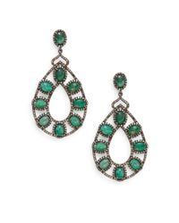 Bavna - Green Emerald, Champagne Diamond & Sterling Silver Teardrop Earrings - Lyst