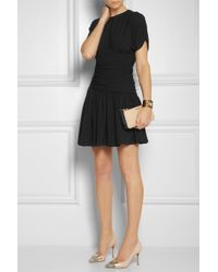Miu Miu | Black Ruched Stretch-crepe Mini Dress | Lyst