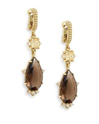 Judith Ripka | Metallic Candy Smoky Quartz, Diamond & 18k Yellow Gold Drop Earrings | Lyst