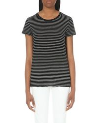 James Perse - Black Classic Striped Cotton-jersey T-shirt - Lyst
