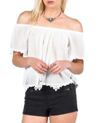 Volcom | White 'sparks Fly' Off The Shoulder Top | Lyst