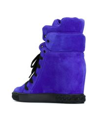 Casadei - Blue Concealed Wedge Sneakers - Lyst