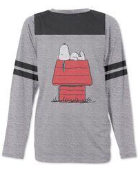 156f22dd6 Jem Men's Peanuts Snoopy Lounging Graphic-print Raglan-sleeve ...