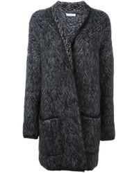 Max Mara - Gray Chevron Pattern Cardi-coat - Lyst