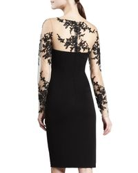 David Meister - Black Long-sleeve Embroidered Jersey Dress - Lyst