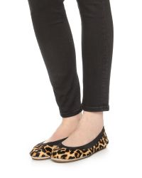Yosi Samra   Multicolor Classic Fold-Up Leopard-Print Calf Hair Ballet Flats   Lyst