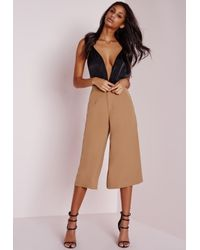 Missguided - Natural Woven Culottes Camel - Lyst