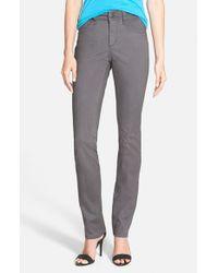 NYDJ - Gray 'Samantha' Stretch Slim Straight Leg Jeans - Lyst