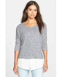 Bobeau | Black Layered Look Stripe Top | Lyst