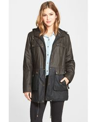 MICHAEL Michael Kors | Green Two Tone Waxed Cotton Anorak | Lyst
