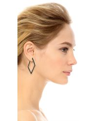 Kenneth Jay Lane | Geometric Hoop Earrings - Black | Lyst