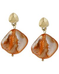 Kenneth Cole - New York Gold-Tone Orange Shell Drop Earrings - Lyst