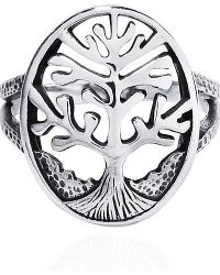 Aeravida | Metallic Sacred Winter Tree Of Life Sterling Silver Ring | Lyst