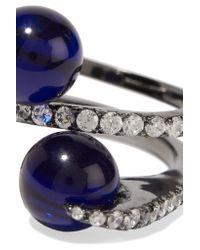 Noir Jewelry - Blue Sibylla Gunmental-tone, Cubic Zirconia And Cabochon Ring - Lyst