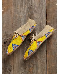Free People - Yellow Vintage Beaded Moccasins - Lyst