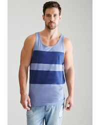 43ef56f33a5837 Forever 21 Heathered Stripe Tank Top in Blue for Men - Lyst