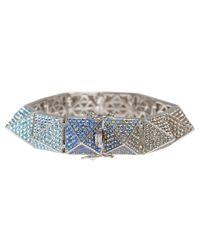 Eddie Borgo - Metallic Large Silverplated Pave Pyramid Bracelet - Lyst