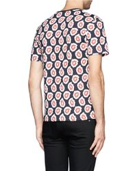 Maison Kitsuné - Pink Geometric Print T-shirt for Men - Lyst