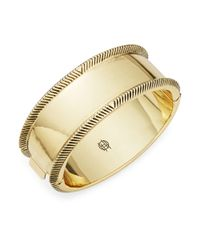 House of Harlow 1960 | Metallic Etched Golden Bangle | Lyst