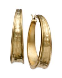 Lauren by Ralph Lauren | Metallic Goldtone Hammered Hoop Earrings | Lyst