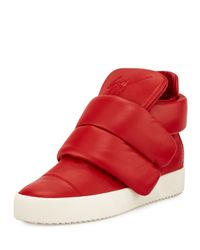 Giuseppe Zanotti - Red Cesar Leather High-Top Sneakers for Men - Lyst