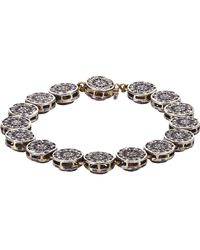 Munnu - White Diamond, Gold & Silver Single Line Bracelet - Lyst