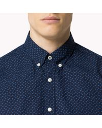 Tommy Hilfiger - Blue Cotton Printed Fitted Shirt for Men - Lyst