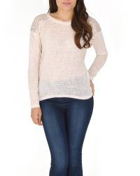 Izabel London | Natural Embellished Knit Top | Lyst