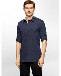 Calvin Klein | Blue White Label Slim Fit Solid End On End Roll-up Sleeve Shirt for Men | Lyst