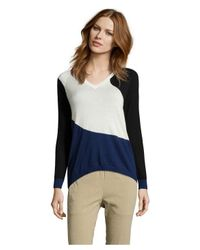 Shae | Blue Colorblock Cashmere V-neck Sweater | Lyst
