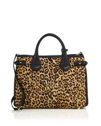 Burberry - Multicolor Banner Medium Leopard-print Calf Hair & Textured Leather Satchel - Lyst