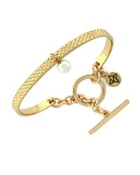 BCBGeneration | Metallic Faux Pearl Toggle Bracelet | Lyst