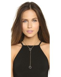 Rebecca Minkoff | Metallic Gem Hex Crystal Lariat Necklace - Gold/crystal | Lyst