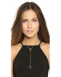 Rebecca Minkoff - Metallic Gem Hex Crystal Lariat Necklace - Gold/crystal - Lyst