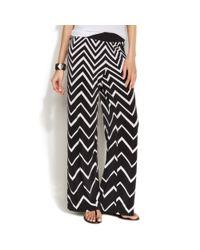INC International Concepts - Black Petite Wideleg Chevronprint Soft Pants - Lyst