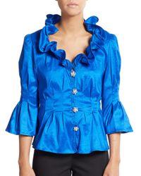 Chetta B | Blue Ruffle-neck Blouse | Lyst