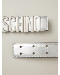 Moschino - Metallic Logo Plaque Belt - Lyst