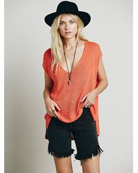 Free People | Orange Womens Easy Tea V-neck Sweater | Lyst