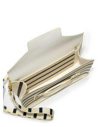 Sophie Hulme Blue Striped Leather Flap Bag