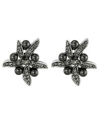 Oscar de la Renta | Black Flower Pearl Button Earrings | Lyst