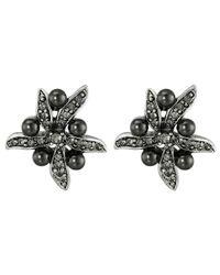 Oscar de la Renta - Black Flower Pearl Button Earrings - Lyst