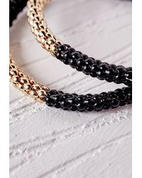 Missguided | Colour Block Chain Hoop Earrings Black | Lyst