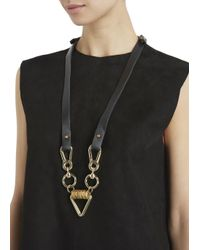 Moxham - Arrow Black Leather And Gold Plated Chain Necklace - Lyst