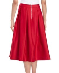 Karl Lagerfeld | Red Pleated Skirt | Lyst