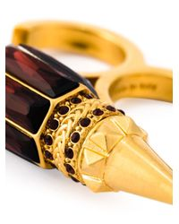 Alexander McQueen | Metallic Spiked Double Band Ring | Lyst