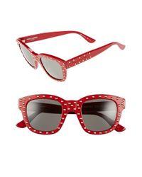 Saint Laurent - Black '100 Lou' 48mm Retro Sunglasses - Lyst